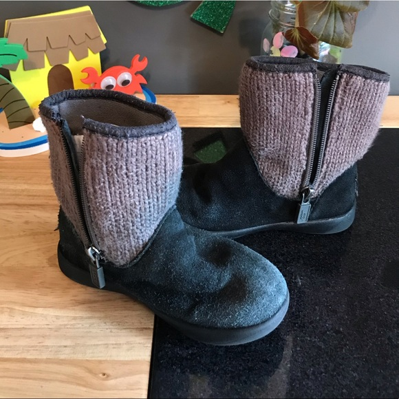 "UGG Other - Toddler Girls Black With ""Sweater"" Top UGG Boots"